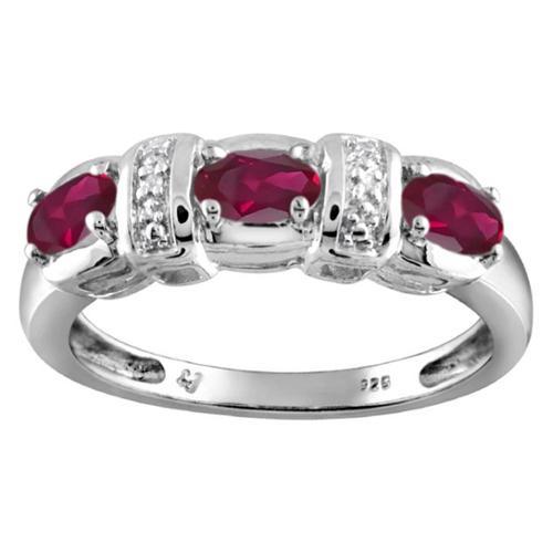 JewelonFire Silver Ruby Gemstone and White Diamond Accent Three Stone Ring
