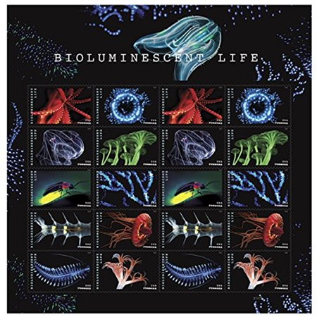 Bioluminescent Life Sheet of 20 Forever USPS First Class Postage Stamps Ocean Realm