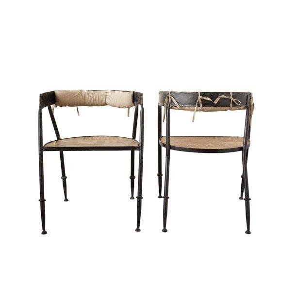 Creative Co Op Metal Chair With Wood Seat Cotton Back Cushion Walmart Com Walmart Com