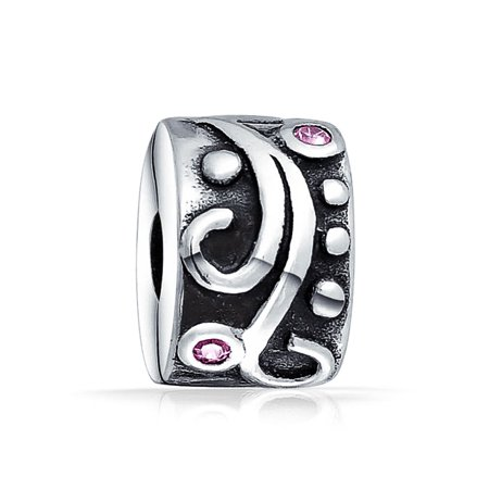 Tribal Floral Swirl Pink CZ Spacer Stopper Bead Charm For Women Oxidized 925 Sterling Silver Fits European Bracelet ()