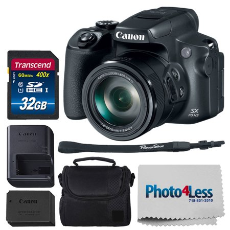 Canon PowerShot SX70 HS Digital Camera w/ 60x Zoom Lens, Built-in Wi-Fi & Bluetooth (Black) + 32GB Memory Card + 32GB SDHC Memory Card Premium + Small Camera/Video Case + (Zoom Bluetooth Pc Card)