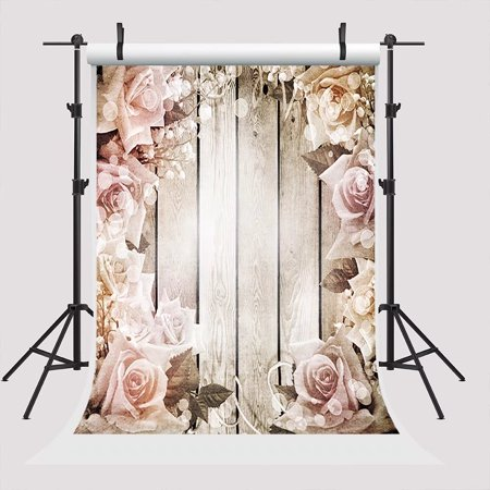 GreenDecor Polyster 5x7ft Wood with Flower Photography Backdrops Valentine's Day Photo Both Background Wedding Studio Prop Backdrop Background](Wedding Photo Backdrop)