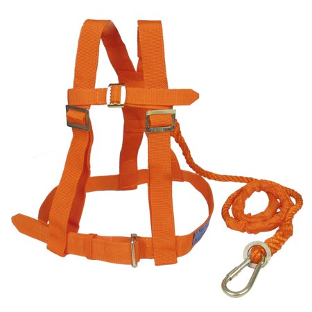 1.6M Orange Dual Nylon Cord Full Body Protection Safety Harness w Metal Hook