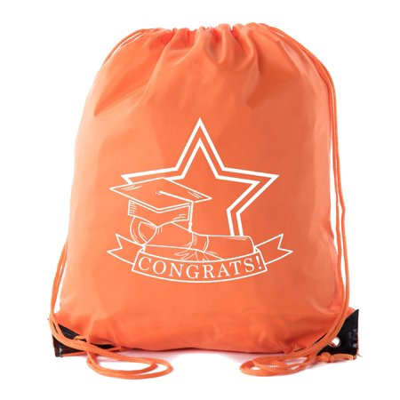 Senior Graduation Drawstring Backpacks Personalized Party Favor Cinch Bags - Congrats Star - Personalized Party Bags