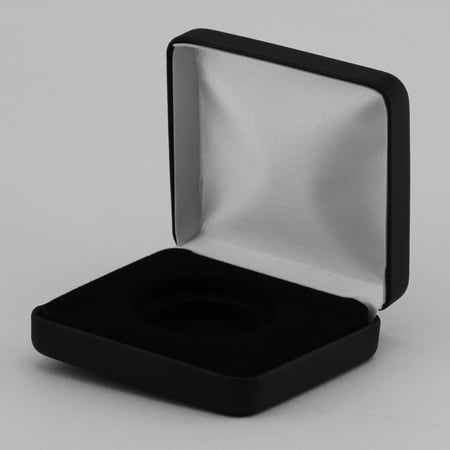 (1) Black Leatherette Coin Display Box Presentation Case for a Single Air-Tite Brand Coin Holder Capsules Displays Black Leatherette