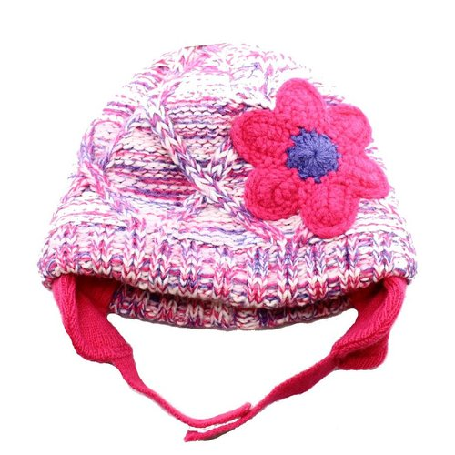 First Impressions Pink Colorblock Purple Size 0-9 Months Floral Knit Hat