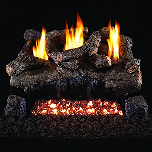 Peterson Real Fyre 30-inch Evening Fyre Log Set With Vent-free Natural Gas Ansi Certified G18 Burner - Electronic Non-standing Pilot And Variable Flame Remote