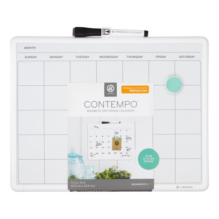 (U Brands Contempo Magnetic Monthly Calendar Dry Erase Board, 11 x 14 Inches, White Frame)