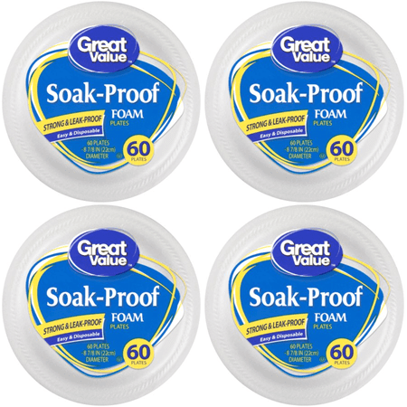 (4 Pack) Great Value Soak-Proof Foam Plates, 60 Count