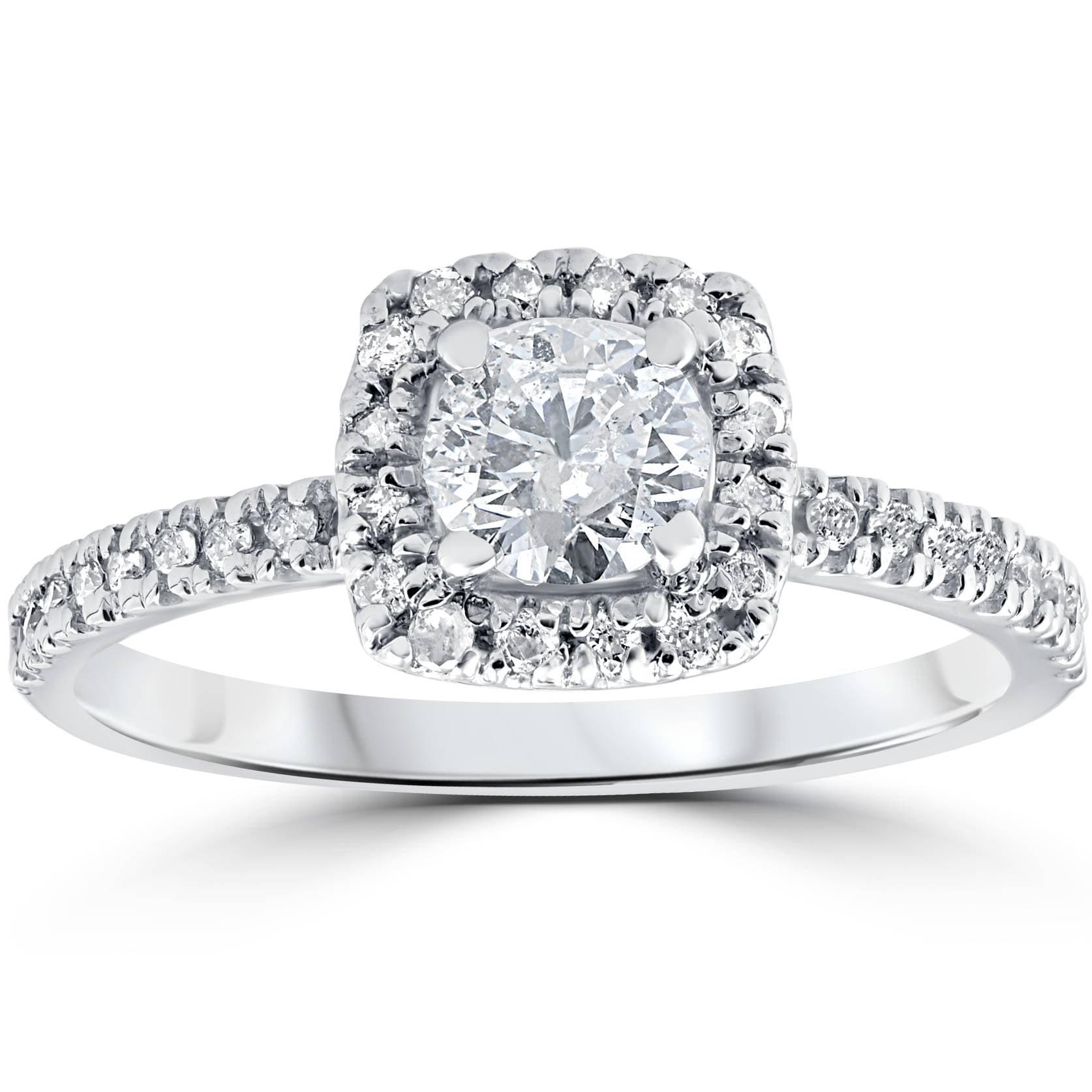 3 4ct Cushion Halo Diamond Engagement Ring 14K White Gold by Pompeii3