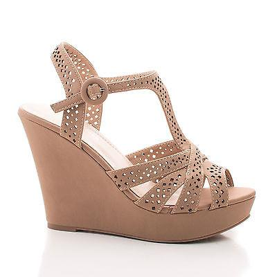 Bump55 by Top Moda, Peep Toe Laser Cut Out Sling back Platform Wedge Dress Sandals