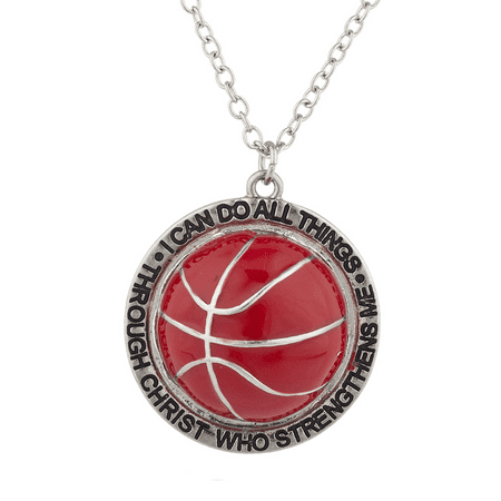 Lux Accessories Silver I Can Do All Things Religious Basketball Charm Necklace