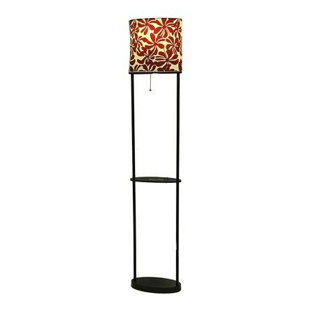 black etagere floor lamp w red and white floral shade. Black Bedroom Furniture Sets. Home Design Ideas