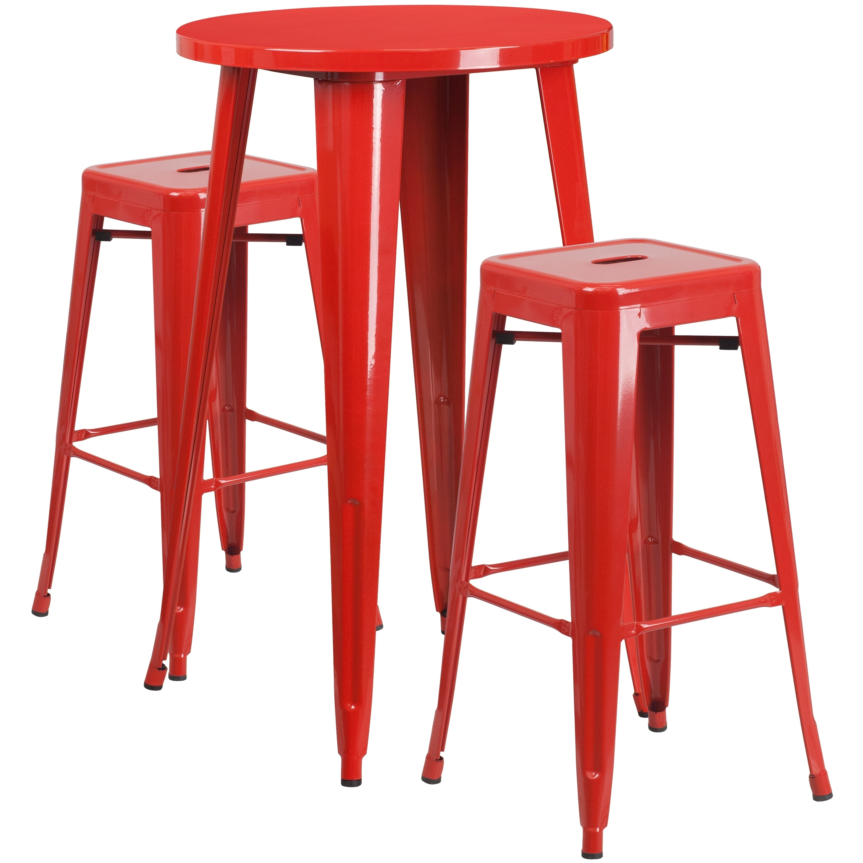 Lancaster Home 24'' Round Metal Indoor-Outdoor Bar Table Set with 2 Square Seat Backless Stools