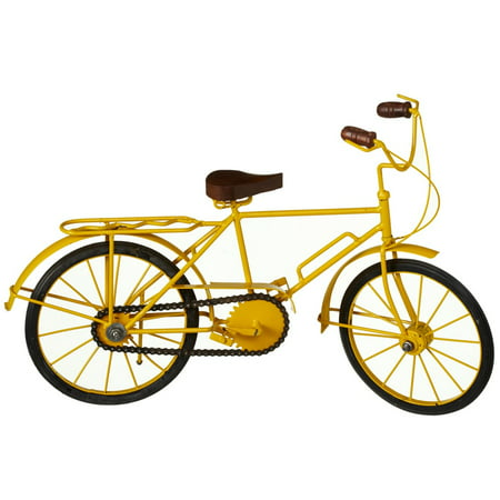 - Set of 2 Yellow and Black Iron/Wood Classic Styled Decorative Bicycle 18