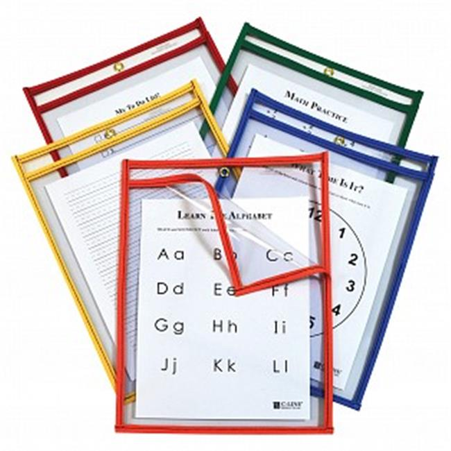 C-Line Products 42620 Reusable Dry Erase Pockets, Assorted Colors
