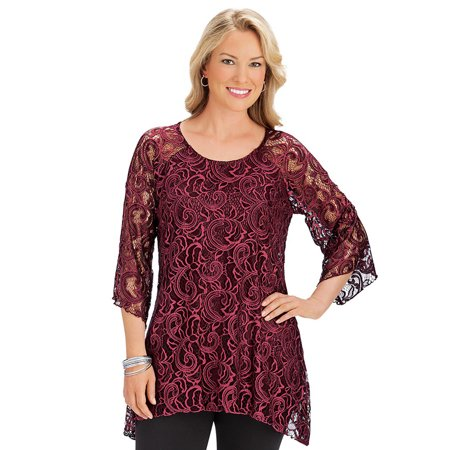 - women's elegant 3/4 sleeve lace tunic top with sharkbite hemline & attached lining, x-large, ivory - made in the usa