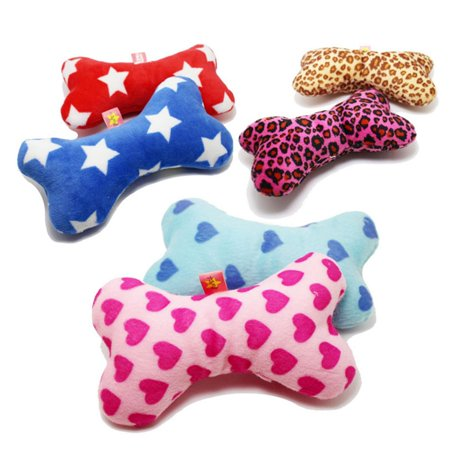 KABOER 2Pcs Cute Strip Plush Pet Dog Cat Sound Squeakers Squeaky Toy For Small Dog Puppy Chew Play Bone Toy Pet Product Puppies Plain Leather