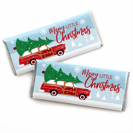 Candy Cars (Merry Little Christmas Tree - Candy Bar Wrapper Red Car Christmas Party Favors - Set of)