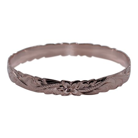 Rose Gold Plated Sterling Silver 8mm Hawaiian Plumeria Engraved Bangle Bracelet, 7