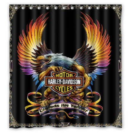 Ganma Harley Davidson Shower Curtain Polyester Fabric Bathroom 66x72 Inches