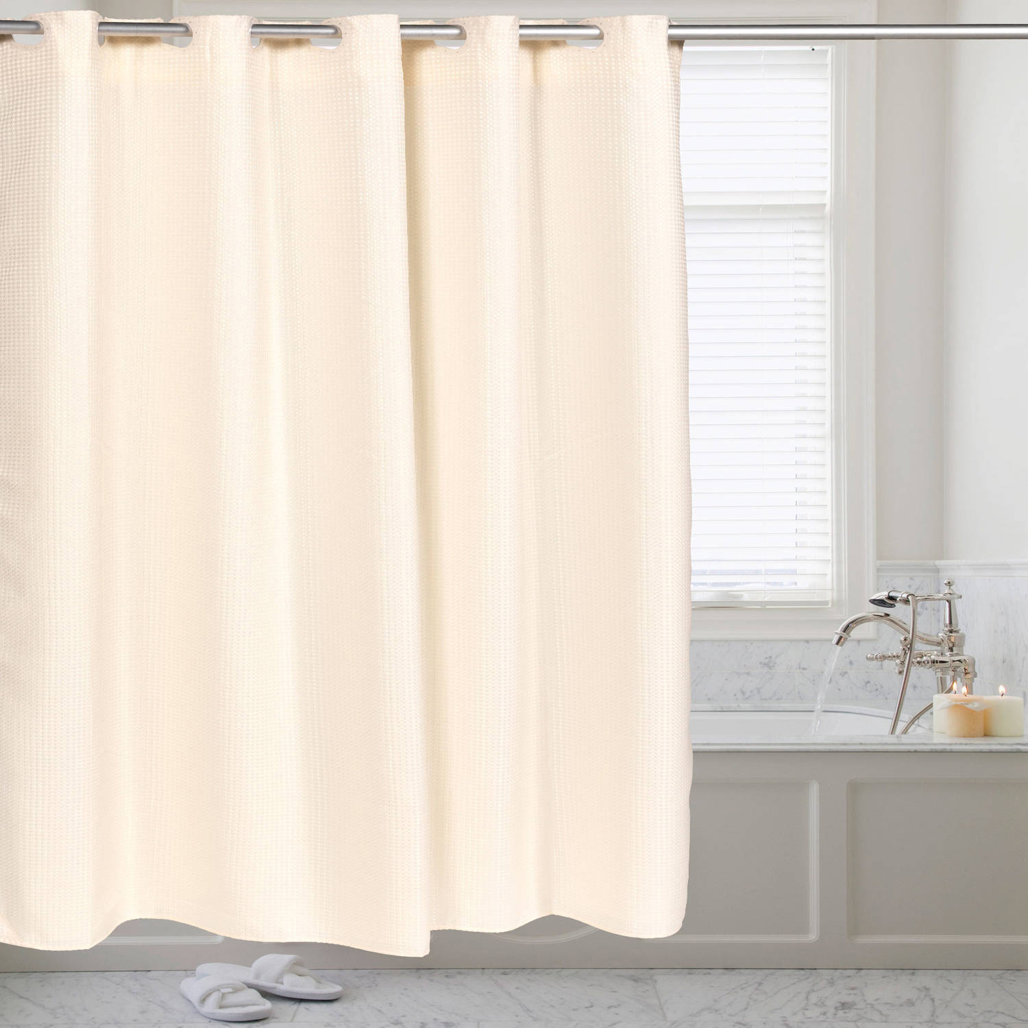 Fabric Shower Curtain Waffle Weave Hookless With Snap Off