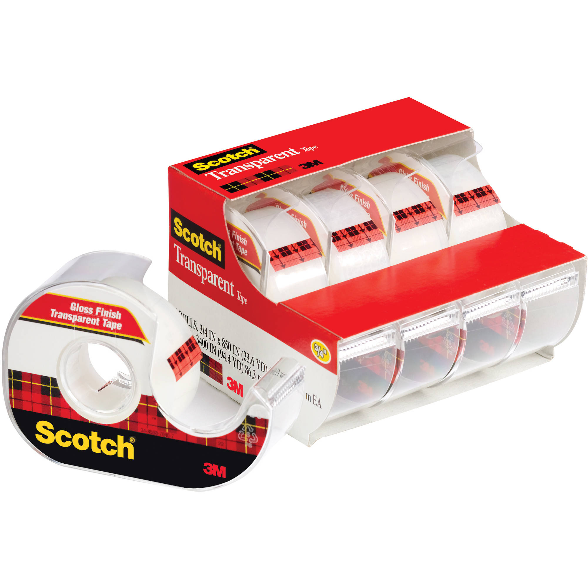 "Scotch Transparent Tape on Handheld Dispensers, 3/4"" x 850"", Clear, 4/Pack"