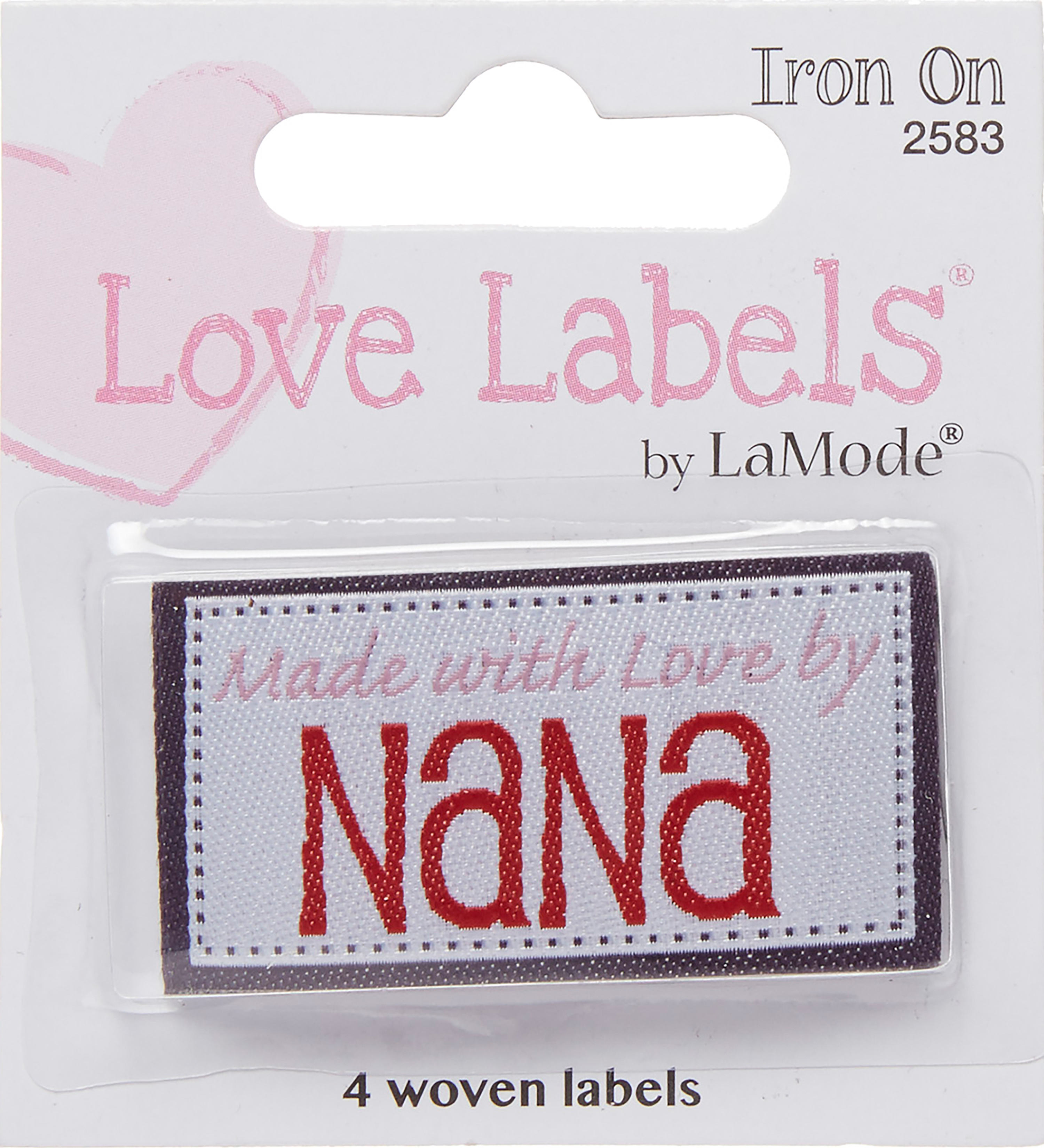 Blumenthal Iron-On Lovelabels 4/Pkg-Made With Love By Nana