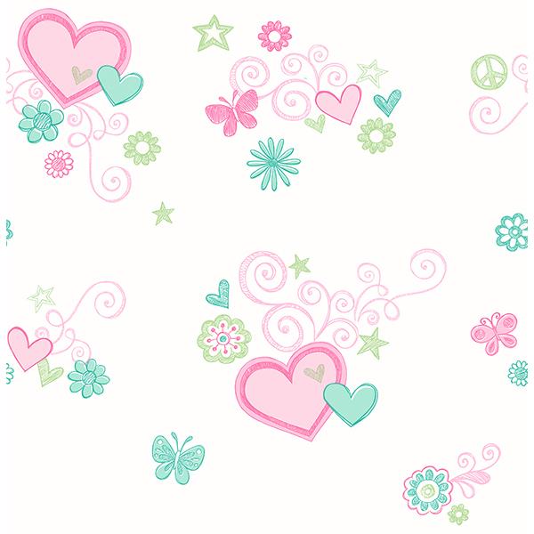 Brewster Heart Felt Green Hearts Wallpaper
