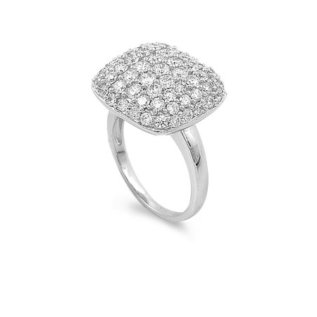 Square Umbrella Pave Cubic Zirconia Ring Sterling Silver 925 Size 10 Cz Square Pave Ring