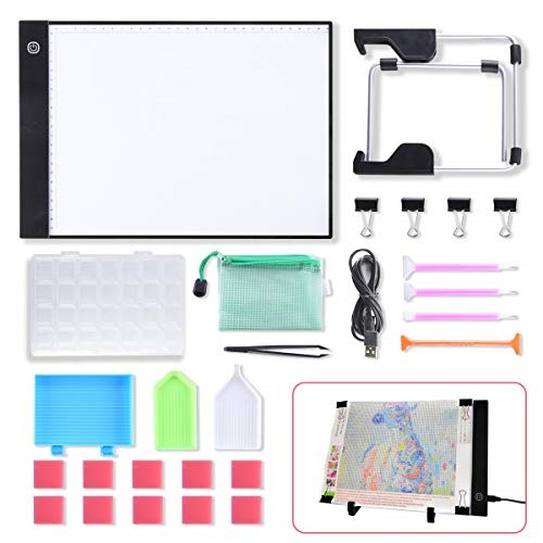 A5//A4 LED Light Pad for Diamond Painting USB Powered Light Board Kit with Stand