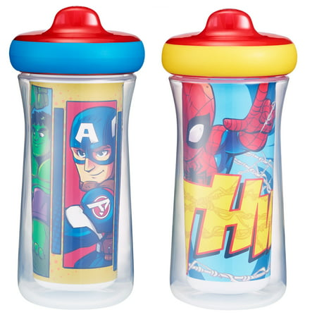Marvel Superheroes Insulated Hard Spout Sippy Cups With One Piece Lid, 9 Oz, 2 Pack