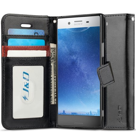 Xperia XZ Premium Case, J&D [Wallet Stand] [Slim Fit] Heavy Duty Protective Shock Resistant Flip Cover Wallet Case for Sony Xperia XZ Premium – Black
