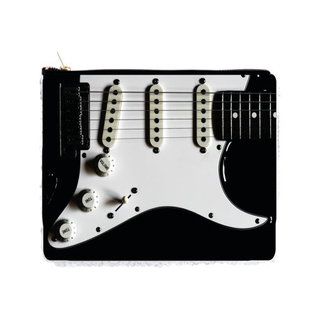 "Electric Guitar Up-Close - 2 Sided 6.5"" x 8"" White / Silver Two-Tone Magic Sequin Pencil Case / Bag"