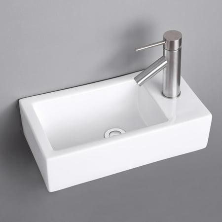 Aquaterior 17 Rectangle Bathroom Corner Sink Porcelain Ceramics Wall Mount Sink Walmart Canada