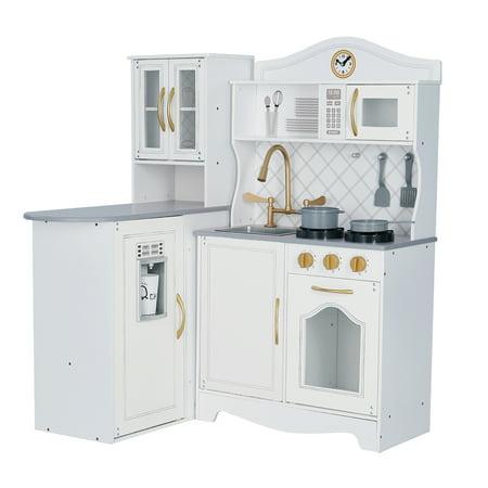 Teamson Kids Little Chef Upper East Retro Play Kitchen, White/Gold