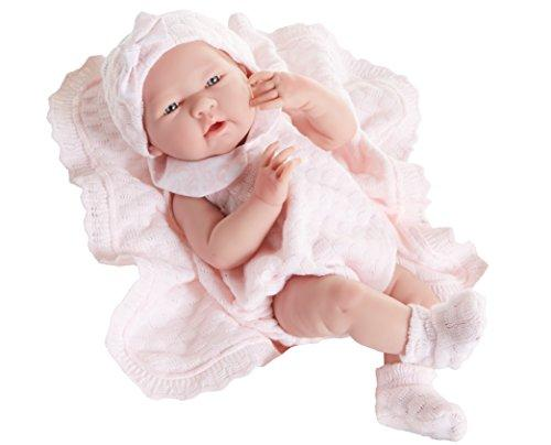 JC Toys La Newborn Pretty in Pink Knit Blanket Gift Set. Realistic 15 Anatomically Correct Real Girl Baby Doll - All Vinyl Designed by Berenguer - Made in Spain