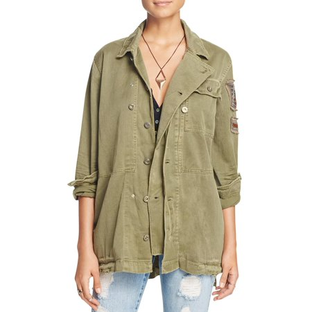 Free People Womens Embellished Distressed Button Down Top