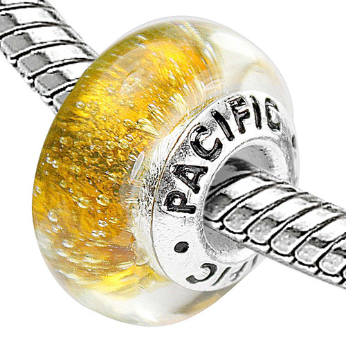 Pacific 925 Charms Sterling Silver Core Glass Bead, Gold Digger