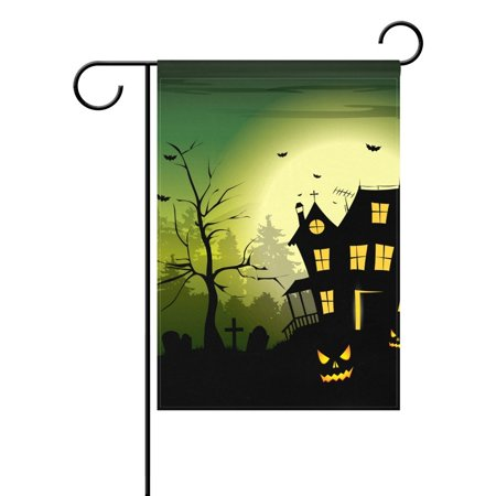 POPCreation Halloween Scary House On Green Background Polyester Garden Flag Outdoor Flag Home Party Garden Decor 28x40 inches](Is Six Flags Halloween Scary)
