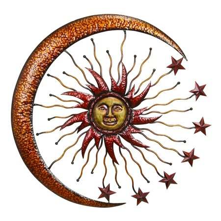 Sparkling Sun Moon Metal Wall Decor With Small Stars, Multicolor
