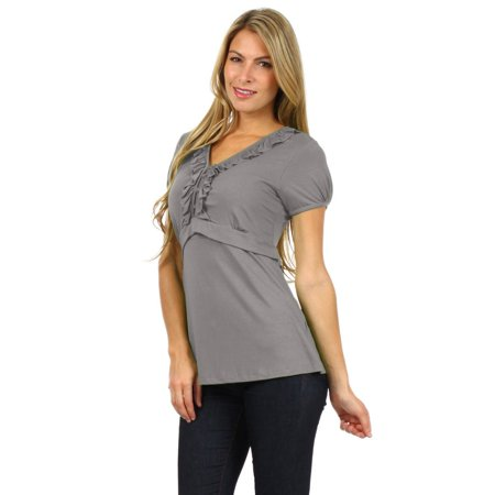38d8e9b5e BellyMoms - BellyMoms Maternity Women s Faith Ruffle Short Sleeve Nursing  Top - Walmart.com
