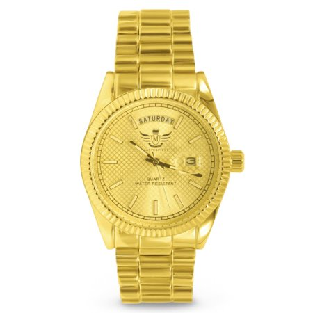 Gold Day/Date Classic Mens Executive Style Watch (Falcons Mens Executive Watch)