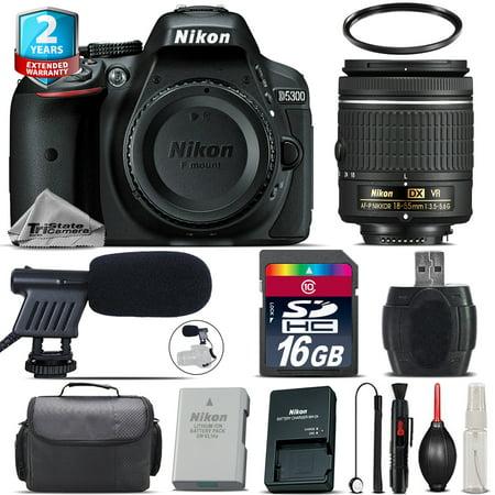 Nikon D5300 DSLR Camera + AF-P 18-55mm VR + Shoutgun Mic + UV + Case - 16GB Kit (Nikon Dslr Microphone)