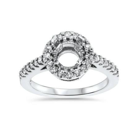1/2ct SI Pave Halo Diamond Engagement Ring Setting 14K White Gold (14k Pave Diamond Ring Setting)