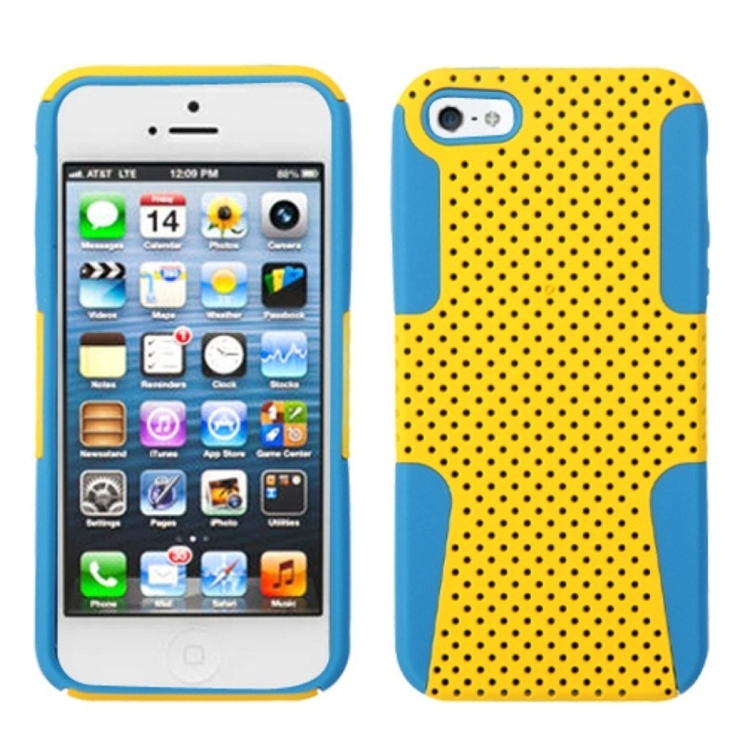 Insten Yellow/Tropical Teal Green Astronoot Phone Case for Apple iPhone SE / 5S / 5