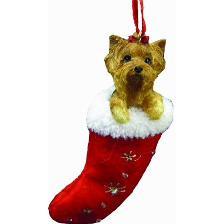 Yorkie Teacup Ornament - Yorkie Christmas Stocking Ornament, Hand Painted and Stitched Detail