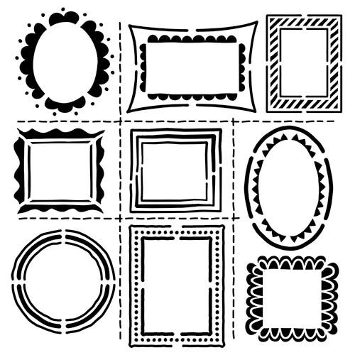 "Crafter's Workshop Template 6""X6""-Hand Drawn Frames"