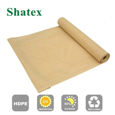 Shatex Outdoor Shade Cloth Block 90% Sun Shade for Pergola/Patio/Porch/Backyard/Garden/Greenhouse 6x30ft Beige