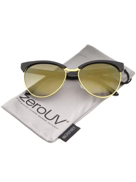 7f3ffcd5e0d Product Image zeroUV - Women s Oversize Half-Frame Colored Mirror Lens Cat  Eye Sunglasses 58mm - 58mm